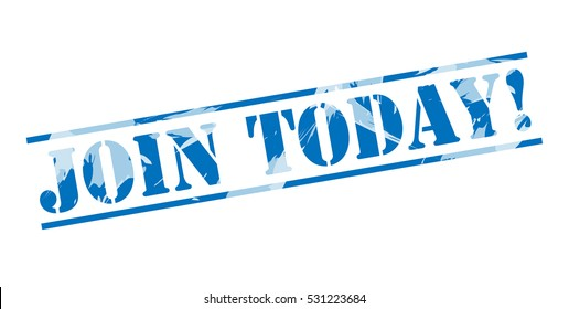 join today! blue stamp on white background