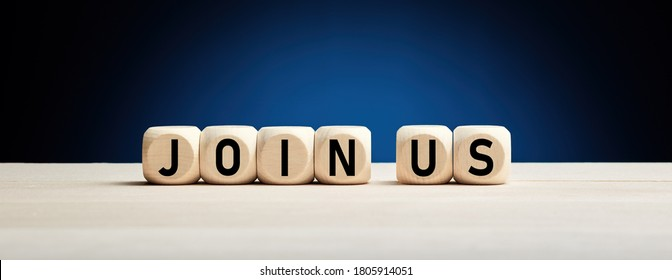 Join us concept on wooden cubes against blue background. Business job vacancy or community membership announcement concept.