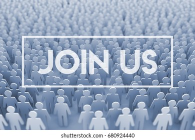 Join us. Large group of stick figure people. 3D Rendering