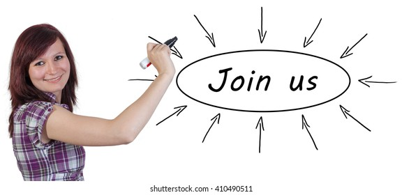 Join us - young businesswoman drawing information concept on whiteboard.