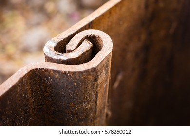 joined rusty metal plate at construction site