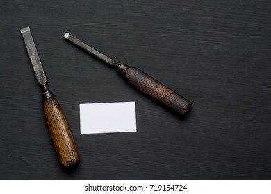 joiner tools on dark wooden table background. Flat lay .