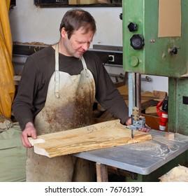 Joiner work in his workshop.