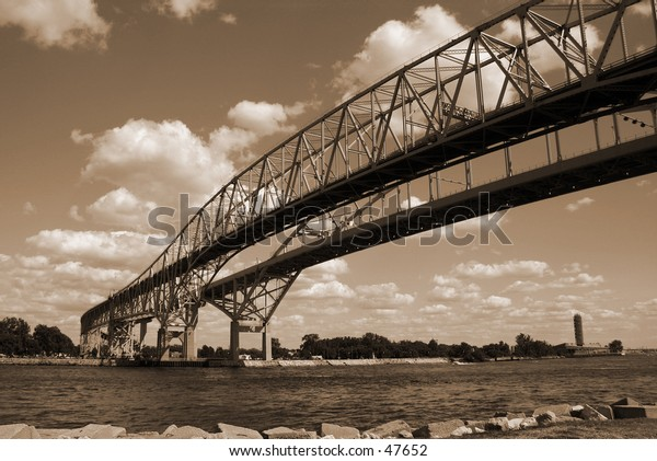 Joining two nations. This is the bridge to Canada in Port Huron Michigan.
