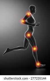 Joint knee, hip and ankle - running man leg scan in blue