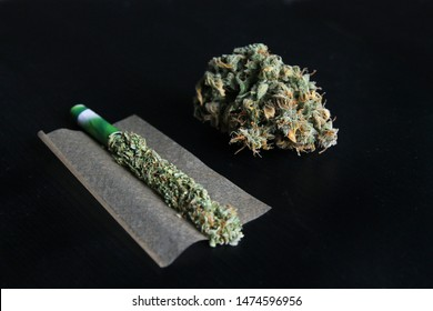 Joint of marihuana flower opened up. Paper filled with weed, grinder and pot isolated in black background. Rolling a joint and smoking weed.