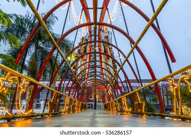 JOINVILLE, BRAZIL - DECEMBER 2016: Footbridge at nigth with christmas ornament