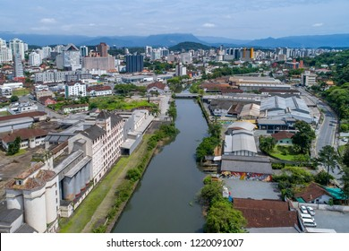Joinville, Brazil, November 2018: Aerial view of Joinville's Dowtown over Cachoeira River