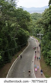 JOINVILLE, SANTA CATARINA, BRAZIL - January 2nd, 2018: People walking to an Observatory at Joinville, a city on the south area of Brazil, at Santa Catarina State, in a cloudy day.