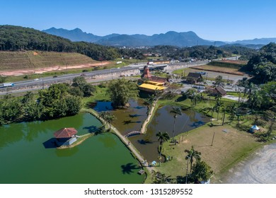 Joinville, Santa Catarina, Brazil, September 2018: Aerial view of Joinville's entrance and mill