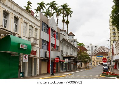 JOINVILLE, SANTA CATARINA/BRAZIL - November 5: Streets of downtown on rainy day on November 5, 2017  in Joinville. It is the largest city in Santa Catarina State