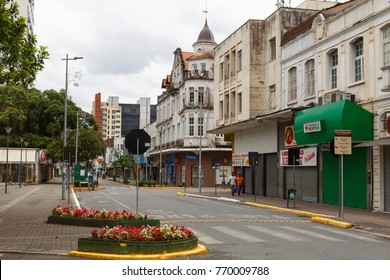 JOINVILLE, SANTA CATARINA/BRAZIL - November 5: Empty streets of downtown on sunday on November 5, 2017  in Joinville. It is the largest city in Santa Catarina State