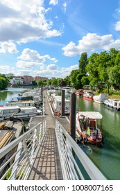 Joinville-le-Pont, Val-de-Marne, France - June 6, 2017: The marina of Joinville-le-Pont, in the inner suburbs of Paris, has a capacity of 70 boats including 56 permanent and 14 for the stopover.