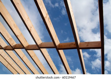 Joists on a building in the process of construction