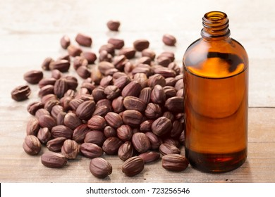 jojoba oil and seeds on the table