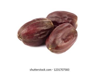 Jojoba Seed or Nut (Simmondsia Chinensis). Isolated on White Background.