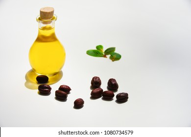 Jojoba seeds and oil in a transparent glass bottle and green leaves