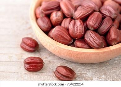 jojoba seeds on the table