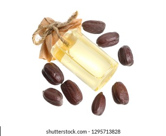 Jojoba or Simmondsia chinensis, goat nut, deer nut pignut, wild hazel, quinine nut, coffeeberry, and gray box bush. With oil.