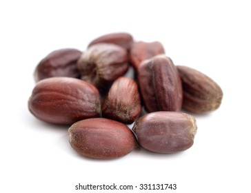 Jojoba (Simmondsia chinensis) seeds. Isolated on withe beckground.