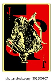 Joker. Illustration a playing card with Joker pierced by the needle