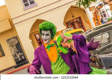 THE JOKER, MOVIEWORLD, AUSTRALIA -11th OCTOBER 2018:-The Joker is one of many superhero and villans characters who patrol movieworld.