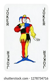 Joker playing card - isolated on white (clipping path included)