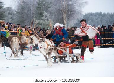 JOKKMOKK / SWEDEN - February 04 2017: Tradinional Reindeer race at annual Sami Market