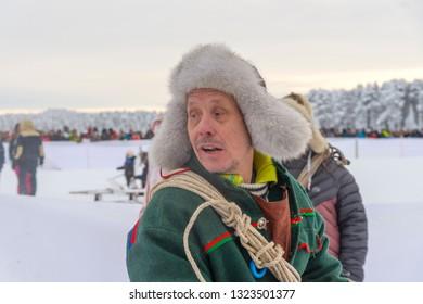 Jokkmokk Winter Market 2019, a Sami event, first weekend on February, winter in Lapland, Sweden, Norrbotten, the race
