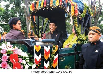 Joko Widodo President of Indonesia in a cultural parade wedding ceremony Kahiyang Ayu the daughter of President Joko Widodo, in Medan, North Sumatera, Indonesia, November,26,2017.