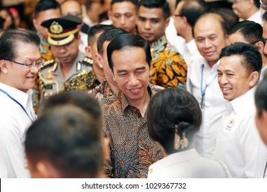 Joko Widodo President Of Indonesia in national working meeting Chamber of Commerce and Industry in Indonesia at Ritz Hotel Mega Kuningan Jakarta on Oktober 2017