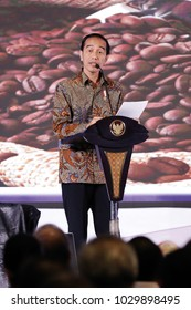Joko Widodo President of Indonesia in national working meeting Chamber of Commerce and Industry in Indonesia at Ritz Hotel Mega Kuningan Jakarta on Oktober 2017.