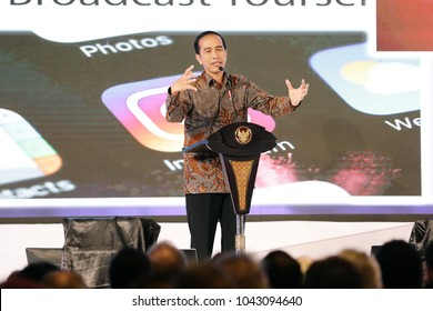 Joko Widodo President of Indonesia in national working meeting Chamber of Commerce and Industry in Indonesia at Ritz Hotel Mega Kuningan Jakarta on October 2017.