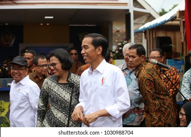 Joko Widodo President of Indonesia and Sri Mulyani Minister of Finance of Indonesia Visiting Tumang, Boyolali Indonesia on 7th July 2017