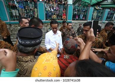 Joko Widodo President Of Indonesia visitting Tumang Village Boyolali at opening ceremony of Cooper Handicraft Village Tourism on July 2017