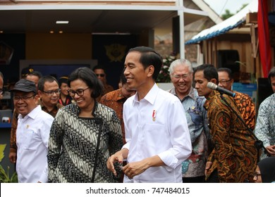 Joko Widodo President Of Indonesia visitting Tumang Village Boyolali at opening ceremony of Cooper Handicraft Village Tourism on July 2017