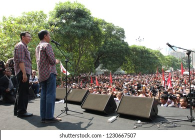 Jokowi and Ahok doing campaign for Jakarta's governor election at jakarta, Indonesia, July 1, 2012