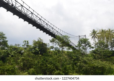 The Jokowi Muntilan Bridge in Magelang, Central Java, Indonesia. The bridge from bottom view.