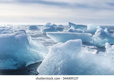 jokulsarlon beach with icebergs, iceland