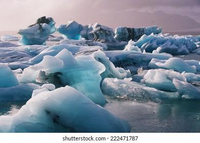 Jokulsarlon Glacial Lagoon near Vatnajokull in south coast of Iceland