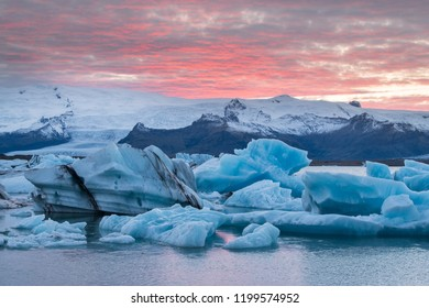 Jokulsarlon Glacier Lagoon in the autumn with red cloud, Iceland