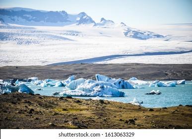 Jokulsarlon Glacier Lagoon, bordering Vatnajokull National Park in southeastern Iceland