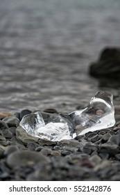 Jokulsarlon Glacier Lagoon. Ice on Ground.