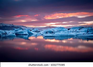 Jokulsarlon Glacier Lagoon icebergs at sunset, Iceland