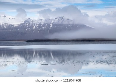 Jokulsarlon glacier lagoon lake in winter. Iceland