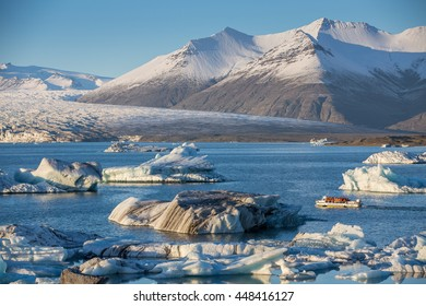 Jokulsarlon Glacier Lagoon with snow covered mountains in the background, Iceland