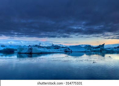 The Jokulsarlon glacier lagoon in the south of Ice