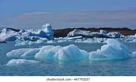 Jokulsarlon Glacier Lagoon in southeast Iceland, on the edge of Vatnajokull National Park