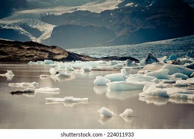 Jokulsarlon Glacier Lagoon in Vatnajokull National Park, Iceland. Horizontal filtered shot