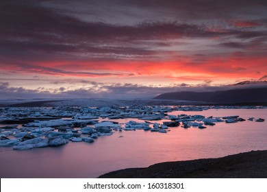 Jokulsarlon Ice Lagoon in-summer light(sunset)